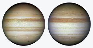 Der Planet Jupiter, fotografiert vom Hubble Weltraum Teleskop 2009 (links), und 2010 (rechts)