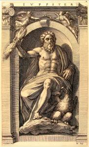 Radierung, den Gott Jupiter darstellend, von Polidoro Caldara da Caravaggio (1495–1543)