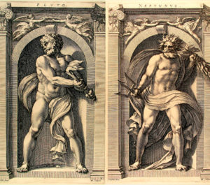 Pluto and Neptun - Radierung von Polidoro Caldara da Caravaggio (1495–1543)