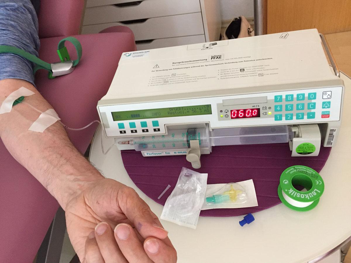 Hodensackinfusion mit glucose